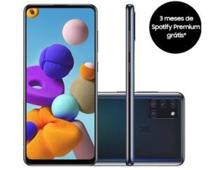 "Samsung Galaxy A21s 6,5"" Dual Chip 64GB 4GB RAM Preto Octa Core Câmera Quádrupla 48MP Selfie 13MP - R$1226"