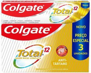 [PRIME] Creme Dental Colgate Total 12 Anti Tártaro 3 Unid 90G 3 Unid 90G Preço Especial