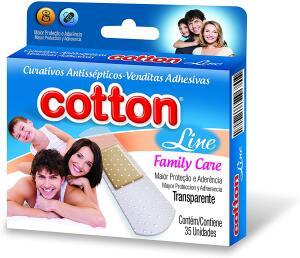 [Prime] Curativo Antisséptico Transparente Cotton Line, 35 Unidades