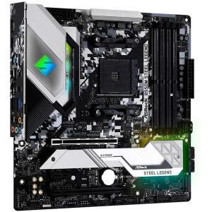 Placa Mãe AsRock B550M Steel Legend, Chipset B550, AMD AM4, MATX, DDR4 | R$1.300