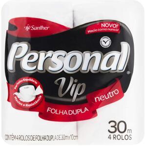 [PRIME] Papel Higiênico VIP Folha Dupla, Personal, 4 unidades, Branco | R$5