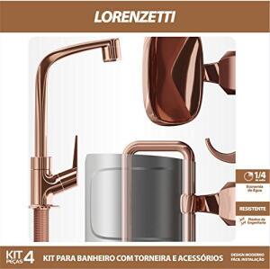 [Prime] Kit 4 Peças Rose Gold: torneira e acessórios, Lorenzetti | R$120