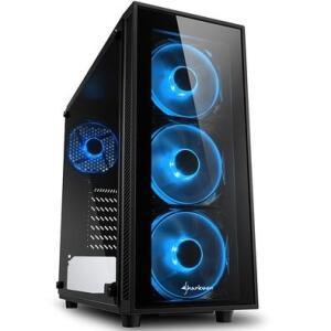 Gabinete Gamer Sharkoon TG4 Blue sem Fonte, Mid Tower, USB 3.0, 4 Fans, Preto com Lateral em Vidro