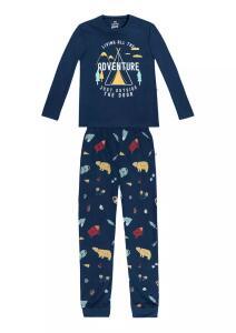 Pijama Longo Infantil Adventure Com Elástico - Azul | R$ 40