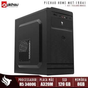 Computador Pichau Home Office, processador AMD Ryzen 5 3400G, A320M, 8GB DDR4, SSD 120GB, 500W