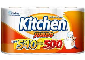 [R$ 10,46 Magalupay] Papel Toalha Dupla Kitchen Jumbo - 3 unidades | R$13