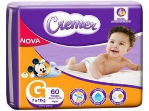 Fralda Cremer Disney Baby G - 60 unidades, sai a 48 centavos a tira. | R$29
