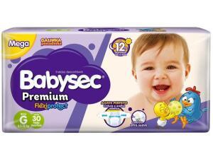 Fralda Babysec Premium G, com 30 unidades - Cada tira R$ 0,47   R$14
