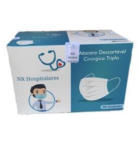 Máscara Descartável Cirúrgica Tripla - Caixa com 50 Unidades | R$27