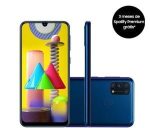 """Smartphone Samsung Galaxy M31 Tela infinita de 6.4"""" 128GB 6GB RAM Câmera 64MP Dual Chip Azul"""