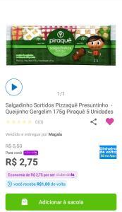 [1,00 de cashback ]Salgadinhos Sortidos Piraquê [R$6]
