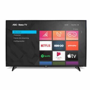 "Smart TV AOC Roku 32"" LED HD HDMI USB Miracast Roku Mobile Wi-fi Preto [R$R$ 989]"