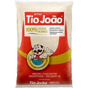 [2 Pacotes] Arroz Branco Tio João Tipo 1 100% Grãos Nobres 5kg | R$32