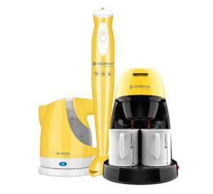 Kit Cadence Colors Amarelo - Cafeteira - Mixer - Chaleira