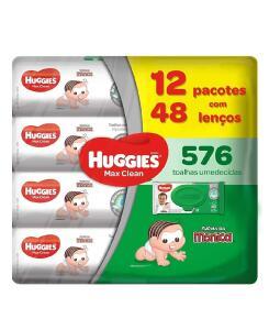 [ PRIME ] Lenços Umedecidos Huggies Max Clean, Pacote de 576 Toalhas, 12 Pacotes, Huggies | R$84
