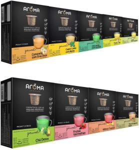 [Prime] 100 Cápsulas Para Nespresso - Kit Degustação Chá - Cápsula Aroma | R$100