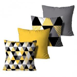 Kit 4 Capas para Almofadas Decorativas Multi Triângulos Amarelos 35x35cm | R$81