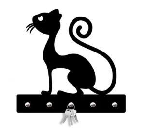 Porta Chaves Silhueta Gato Magro Único | R$30
