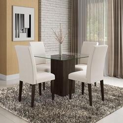 [Com AME R$450] Conjunto Sala De Jantar Belize De Vidro 4 Cadeiras - Móveis Arapongas
