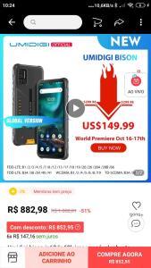 Smartphone Umidigi Bison 6GB RAM 128GB ROM | R$840