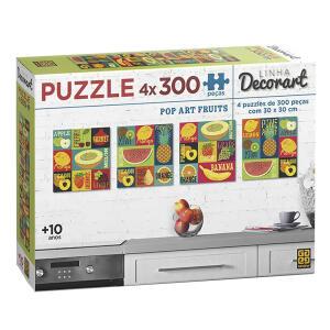 Puzzle/Quebra-cabeça 4 x 300 peças Decorart Pop Art Fruits - R$ 39,90