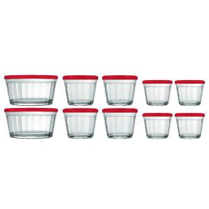 Conjunto Potes de Vidro Americano Com Tampa - 10 peças | R$54