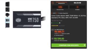 Fonte Cooler Master MWE 750W White -V2, 80 Plus Standard, PFC Ativo