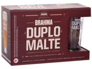 Kits Cerveja Brahma Duplo Malte 350ml - 30 unidades + 5 copos [Clube da Lu + Cashback]