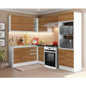 [R$1520 AME] Cozinha de canto Madesa com rodapé removível rustic 100% MDF | R$ 2100