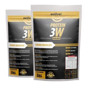 whey 3w concentrado isolado hidrolisado 4kg active vários sabores | R$132