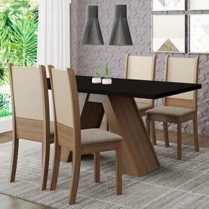 Conjunto Sala de Jantar Madesa Kiara Mesa Tampo de Madeira com 4 Cadeiras | R$970