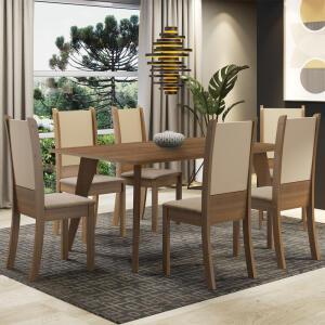 Conjunto Sala de Jantar Madesa Damaris Mesa Tampo de Madeira 6 Cadeiras | R$1.060
