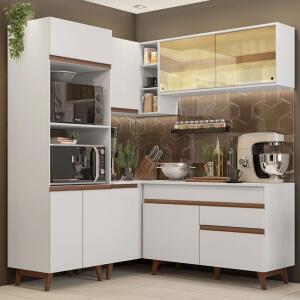Cozinha Completa de Canto Madesa Reims 332001 com Armário e Balcão Branco | R$1.480