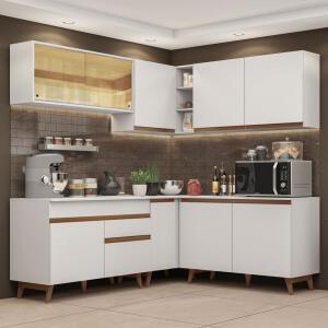 Cozinha Completa de Canto Madesa Reims 382001 com Armário e Balcão Branco | R$1.610