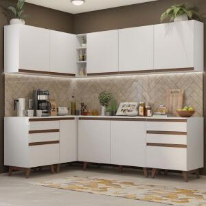 Cozinha Completa de Canto Madesa Reims 382002 Armário e Balcão Branco | R$1.860