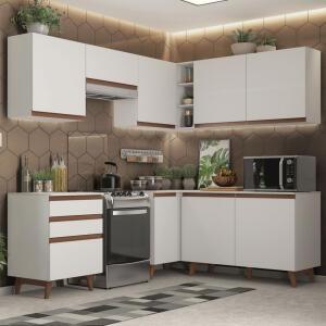 Cozinha Completa de Canto Madesa Reims 392001 Armário e Balcão Branco | R$1.570