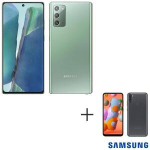 """Galaxy Note20 Mystic Green, Tela 6,7"""", 5G, 256GB - + Galaxy A11 Preto, Tela 6,4"""", 4G, 64GB [ VOUCHER DE R$ 1.000,00 ]"""
