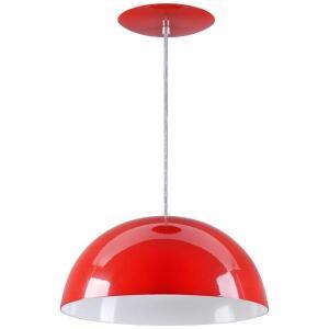Pendente Meia Lua 34cm Luminária Alumínio Vermelho - Rei Da Iluminação | R$42