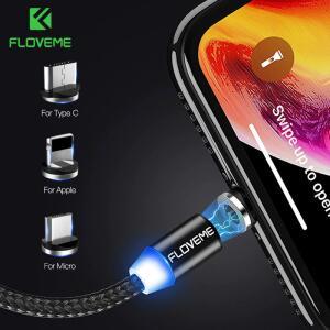 FLOVEME 1M Carga Magnética Cabo USB iphone 11 Pro Max XR| R$10
