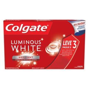 [R$6,40 na compra de 3] Kit Creme Dental Colgate Luminous White Brilliant Mint 70g 3 Unidades | R$ 9