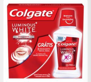 Kit Creme Dental Colgate Luminous White Brilliant Mint 70g 3 Unidades + Enxaguante Bucal 250ml