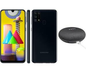 Smartphone Samsung Galaxy M31 Preto 128GB + Google Nest Mini Preto | R$1899