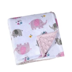 Manta Dupla Face Para Bebê Lepper Fleece Estampada - Rosa | R$ 32
