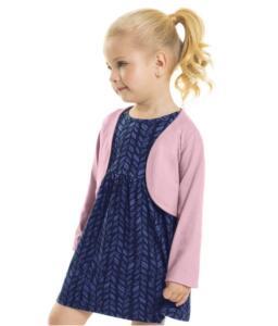 Conjunto Infantil Vestido e Bolero Cotton Bee Loop Azul | R$ 24
