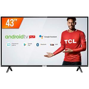 "Smart TV LED 43"" Android, Full HD com Conversor Digital Wi-Fi Bluetooth 1 USB 2 HDMI R$1661"