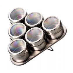 Kit 06 Portas Condimento Tempero Inox Magnético Imã Geladeira - Com suporte | R$ 40
