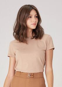 Blusa T-shirt Em Algodão Orgânico - Marrom ou Off White - Dzarm | R$ 27