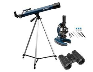 Kit Telescópio 50mm Refrator, Microscópio 900x e Binóculo 4x30 Meade   R$830
