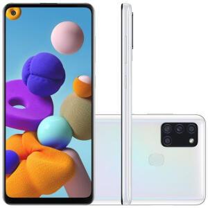 """[ AME 1.053,15 ] Celular Samsung Galaxy A21s Branco 64GB Tela 6.5"""" 4GB RAM - R$1177"""