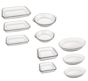 Conjunto de assadeiras refratárias | Marinex | 10 peças | R$130